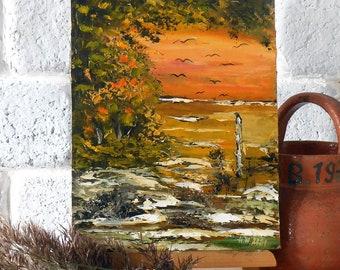 Autumn landscape oil painting mini, Landscape palette knife painting, Small oil painting flying birds art, Past autumn painting miniature