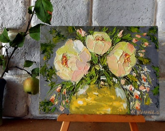 Abstract peonies small oil painting 3d original, Miniature painting of flowers impasto palette knife, Mini painting peony bouquet