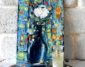 White Rose Art, Flower Painting, Small Oil Painting, Impasto Painting Textured, Palette Knife Painting, Small Wall Art 8 x 11