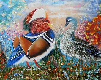Mandarin Duck, Bird Art, Bird Wall Art, Palette Knife Painting, Bird Artwork, Bird Lover Gift