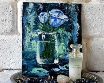 Blue rose oil painting Impasto rose flowers Small oil painting  3d Still life rose in vase Blue floral wall art Mini painting palette knife