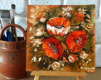 Small oil paintings of red poppies flower palette knife impasto, Mini painting poppies flowers wall art 10 x 10