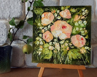 Pink Roses oil painting original small palette knife, Abstract Roses miniature, Mini painting impasto flowers wall art 10 x 10