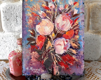 Peony Painting Impasto, Small Oil Painting, Roses Art, Colorful Abstract, Floral Wall Art, Flower Painting Palette Knife