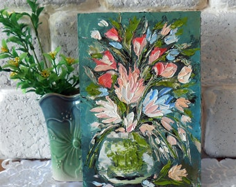 Wildflower painting original art Wildflower bouquet painting still life flower Small painting of flowers impasto Mini floral oil painting 3d