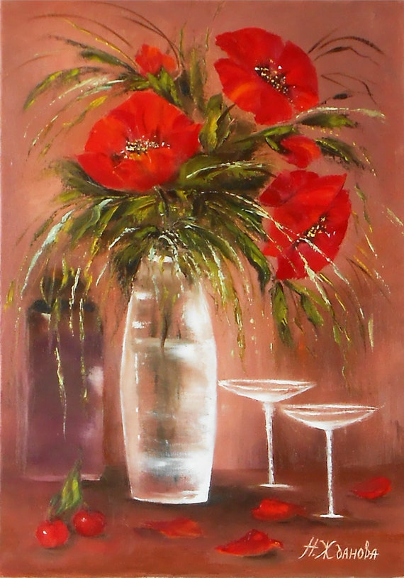 Red poppies flowers red flower painting oil still life flowers etsy image 0 mightylinksfo
