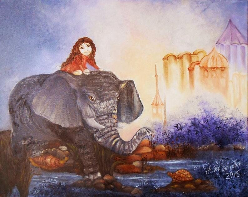 45ab544403 Original Ölgemälde fantasy Landschaft mit Tier Elefant und
