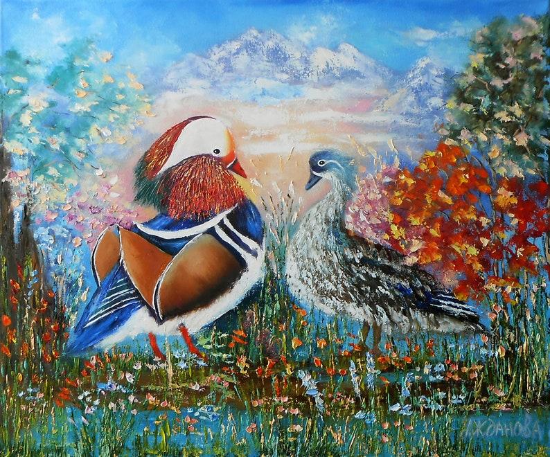 Mandarin ducks painting oil on canvas talisman feng shui for love wall art  feng shui bedroom, Feng shui decor mandarin ducks for sale Etsy
