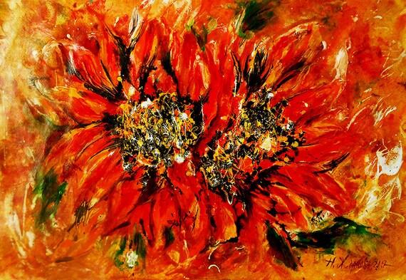 Abstrakte druckbare Blumen Kunst Sonnenblumen druckbare | Etsy