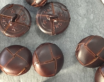 genuine leather buttons 16 vintage leather buttons 9mm leather buttons lot of 16