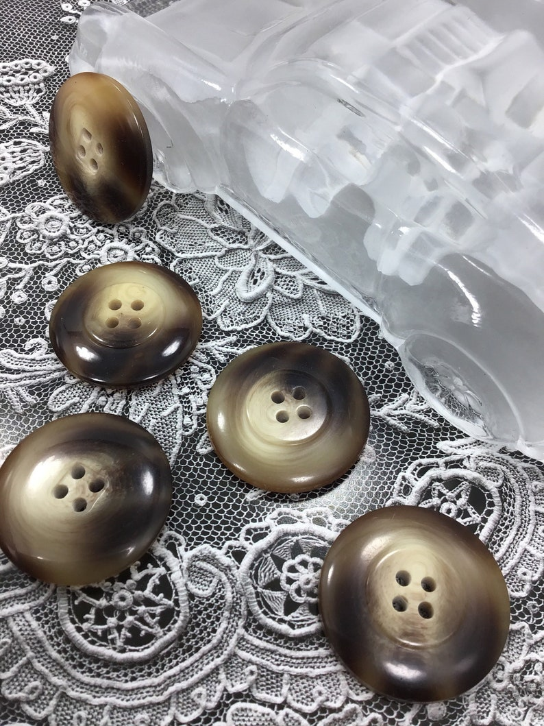 ITALIAN Designer 30mm Toffee Brown Buttons VINTAGE 4 Hole Buttons for  Clothing / Premium Quality Coat Buttons / Jacket Buttons 517