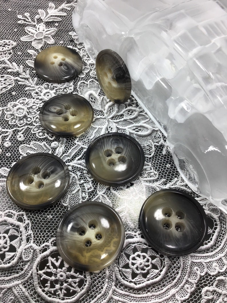 ITALIAN Taupe Grey Clear SWIRL Buttons VINTAGE 4 Hole Buttons for Clothing  / Jacket Buttons / Coat Buttons / Designer Decorative Buttons 516