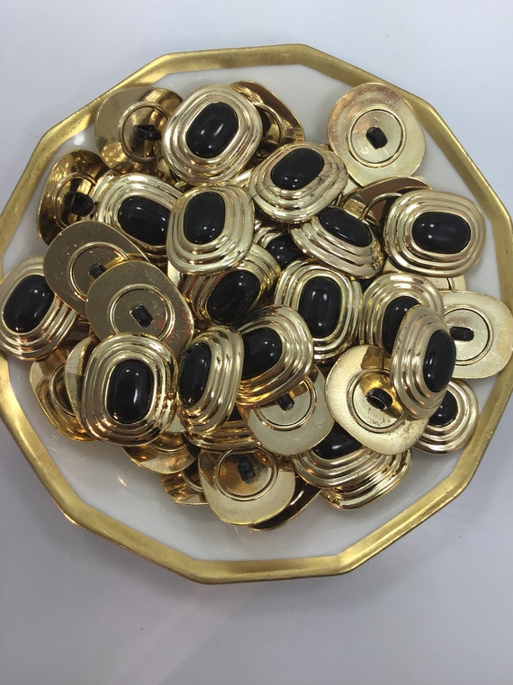 QUALITY 1 x 34 Blank Gold Metallic Shank Buttons ITALIAN Vintage Sewing Button for Clothing  Designer Metallic Buttons 597
