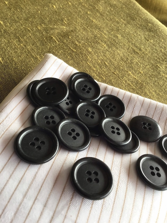 """30 LARGE Black Buttons 1/"""" YOUR CHOICE 9 styles shanks 2 or 4 hole 25mm costumes"""