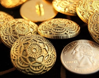 Vintage Gold Buttons Embossed Floral Metallic Gold Shank Buttons