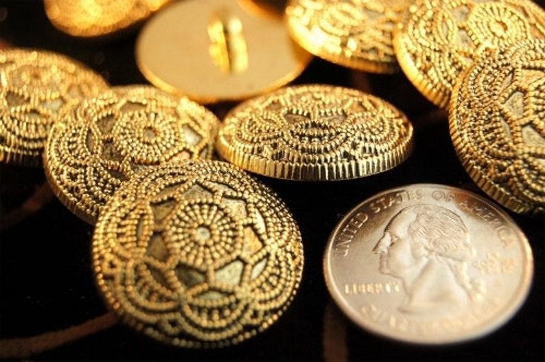Vintage Gold Buttons Embossed Floral Metallic Gold Shank image 0