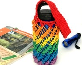 Rainbow zero waste reusable water bottle holder with wrist strap, hand-knit cotton sling for any bottle or cup, eco-friendly lgbt pride gift
