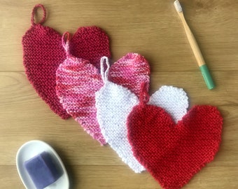 Heart washcloth in 4 colours, hand knit cotton dishcloth, ready to ship, eco crochet face flannel, environmentally friendly Valentine gift
