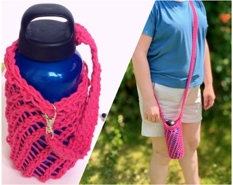 Pink eco-friendly water bottle holder with crossbody or wrist strap, handknit cotton sling for any bottle, zero waste stocking filler gift
