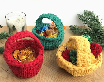 Mini Eco Christmas Baskets, handknit from 100% recycled yarn, eco-friendly storage, zero waste gift, kids ornament, rustic holiday decor