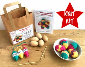 Easter Eggs eco knit kit - all you need to knit your own decorated egg ornaments, full colour pattern + yarn + eggs, eco-friendly DIY craft