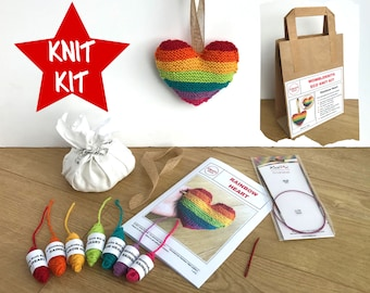 Rainbow heart knit kit - all you need to knit your own stuffed wool heart, easy knitting pattern, eco-friendly DIY kit, Valentine, pride