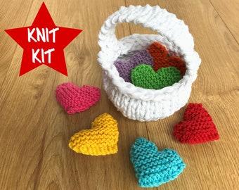 Basketful of Hearts Knit Kit - includes all yarn, full colour pattern, optional needles - vegan recycled cotton eco yarn - lgbtq rainbow