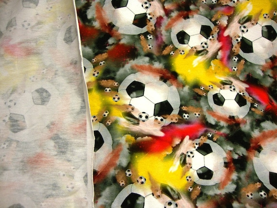 FOOTBALLS Fabric Cotton Craft Quilting SPORT Soccer World Cup By the Metre