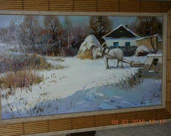 """Original oil painting """"First Snow"""",canvas, in an expensive frame Spain"""