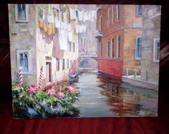 "Original oil painting: Cityscape ""Venice canal"", canvas, varnish"