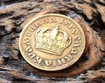 coin 1938 2 Dinara Yugoslavia Petar II large crown Yugoslavian coin