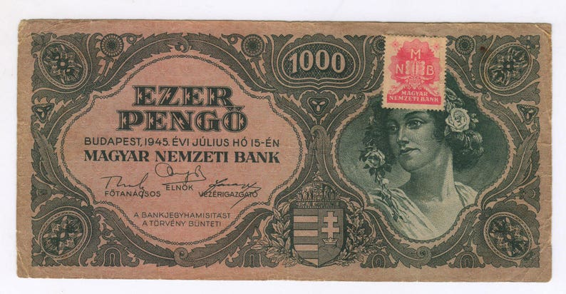 Vintage Banknote 1945 Hungarian 1000 Pengo, Budapest, Paper Money, Old money