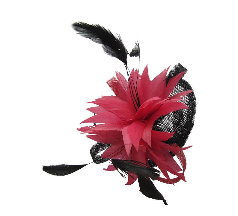 Black and Pink Feather Accentuated Sinamay Saucer Fascinator on Clip Bridal Prom Races Race Day Wedding Hair Piece