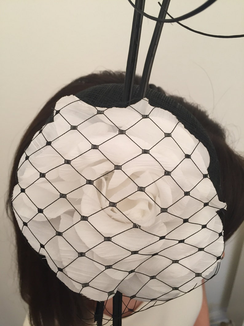 Ava Black and White Fascinator on Black Satin Headband Bridal Prom Races Race Day Wedding Hair Piece