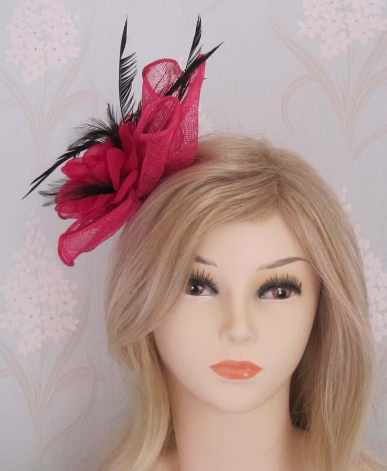 Fuchsia Silk Flower Coq Plume Fascinator Corsage Bridal Prom Races Race Day Wedding Hair Piece Mother of the Bride Hair