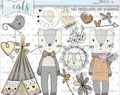 Cat Clipart, Cat Graphic, Tribal Clipart, COMMERCIAL USE, Cats, Woodland Clipart, Cat Party, Handrawn, Hand Drawn, Sketch, Love, Teepee