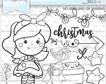 christmas stamps christmas coloring page kawaii stamps commercial use planner stamps girl stamps planner accesories christmas girl