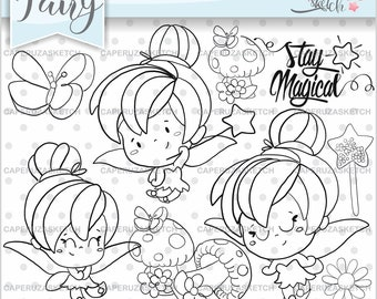 Fairy Stamps, Fairy Tale Stamps, Spring Fairy Stamps, Princess Stamp, Digital Stamp, Digistamp, COMMERCIAL USE, Coloring Page, Stamps