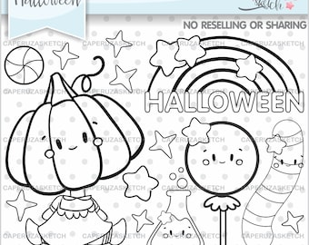 Halloween Stamps, Pumpkin Stamps, COMMERCIAL USE, Halloween Digistamps, Halloween Coloring Images, Halloween Images, Halloween Line Art