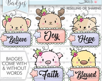 Christmas Badges, Christmas Clipart, Christmas Graphics, COMMERCIAL USE, Badges Clipart, Animal Clipart, Frame Clipart, Speech Bubbles