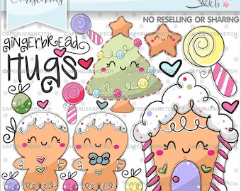 Gingerbread Clipart, Gingerbread Graphics, Christmas Clip Art, COMMERCIAL USE, Gingerbread Party, Christmas Clipart, Planner Accessories