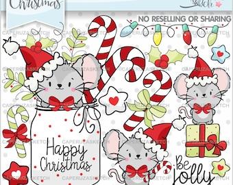 Christmas Clipart, Christmas Graphics, COMMERCIAL USE, Christmas Mouse, Mouse Clipart, Christmas Gift, Candy Cane Clipart, Santa Clipart