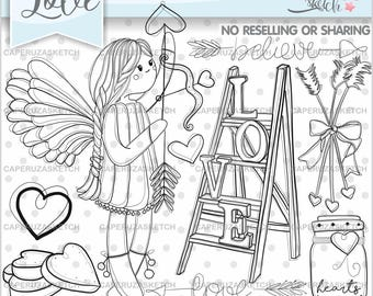 Angel Stamps, Valentine's Day Stamps, Girl Digistamp, Digital Stamp, Digital Image, COMMERCIAL USE, Coloring Page, Love Stamps, Fashion Girl