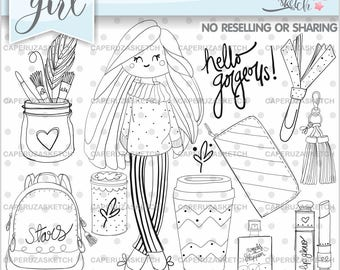 Girl Stamp, Girl Digistamp, Digital Stamp, Digital Image, COMMERCIAL USE, Hello Gorgeous, Coloring Page, Party Stamp, Fashion Girl Stamps
