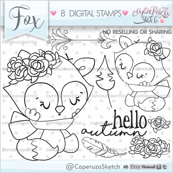 Autumn Stamps Fox Woodland COMMERCIAL USE