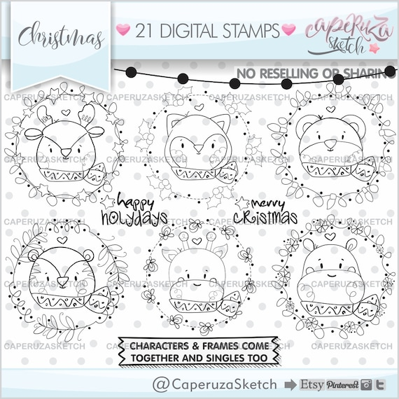 Christmas Stamps Christmas Coloring Pages Christmas Frames Etsy