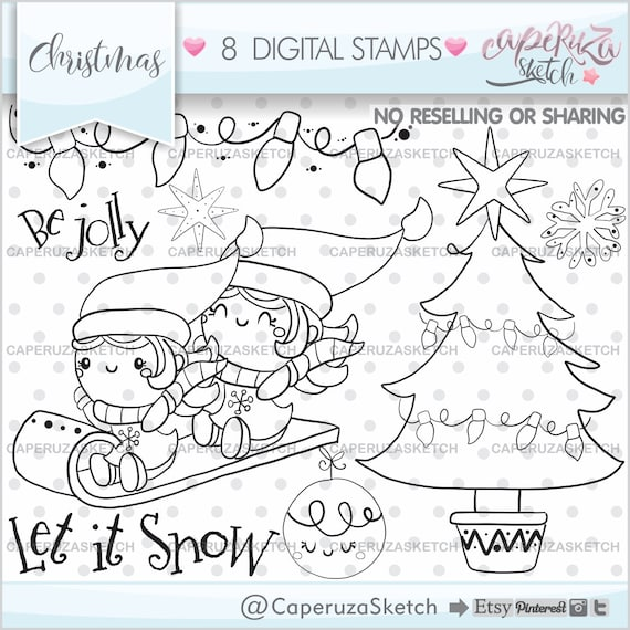 Christmas Stamps Christmas Coloring Page Kawaii Stamps Etsy