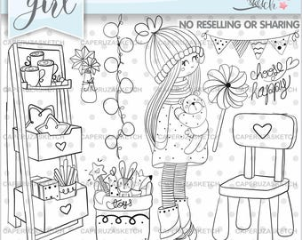 Girl Stamp, Girl Digistamp, Digital Stamp, Digital Image, COMMERCIAL USE, Choose Happy, Coloring Page, Party Stamp, Planner Girl Stamps
