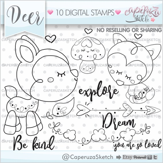 Fungus Stamps Woodland Creatures Deer Stamps Woodland Stamps Coloring Page Forest Animals Stamps COMMERCIAL USE Mushroom Stamps