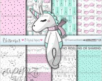 Unicorn Digital Paper, Printable Paper, Unicorn Pattern, COMMERCIAL USE, Unicorn Paper, Animal Pattern, Unicorn Party, Unicorn Texture